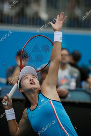 Zhu Lin of China in action during her women's singles first round match against Viktorija Golubic of Switzerland at the Australian Open Grand Slam tennis tournament in Melbourne, Australia, 20 January 2020.