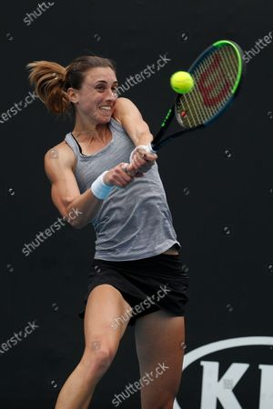 Petra Martic of Croatia in action during her women's singles first round match against Christina McHale of USA at the Australian Open Grand Slam tennis tournament in Melbourne, Australia, 20 January 2020.