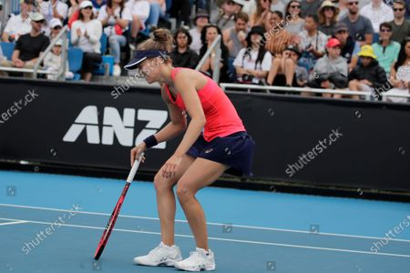Viktorija Golubic of Switzerland reacts after being defeated in her women's singles first round match against Zhu Lin of China at the Australian Open Grand Slam tennis tournament in Melbourne, Australia, 20 January 2020.