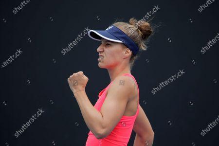 Viktorija Golubic of Switzerland reacts during her women's singles first round match against Zhu Lin of China at the Australian Open Grand Slam tennis tournament in Melbourne, Australia, 20 January 2020.