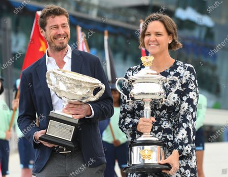 Stock Picture of Former Australian Open singles champions Lindsay Davenport (R) and Marat Safin arrive to the official opening with the Daphne Akhurst Memorial Cup and Norman Brookes Challenge Cup to Melbourne Park, during day one of the Australian Open tennis tournament in Melbourne, Australia, 18 January 2020.