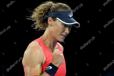Samantha Stosur of Australia in action during her first round match against Catherine McNally of the USA at the Australian Open Grand Slam tennis tournament in Melbourne, Australia, 20 January 2020.