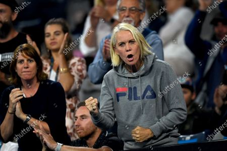 Samantha Stosur's coach Rennae Stubbs reacts during the first round match against Catherine McNally of the USA at the Australian Open Grand Slam tennis tournament in Melbourne, Australia, 20 January 2020.