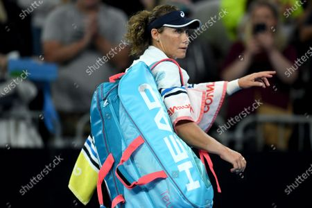 Samantha Stosur of Australia leaves after losing her first round match against Catherine McNally of the USAat the Australian Open Grand Slam tennis tournament in Melbourne, Australia, 20 January 2020.
