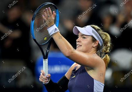 Catherine McNally of the USA celebrates after winning her first round match against Samantha Stosur of Australia at the Australian Open Grand Slam tennis tournament in Melbourne, Australia, 20 January 2020.