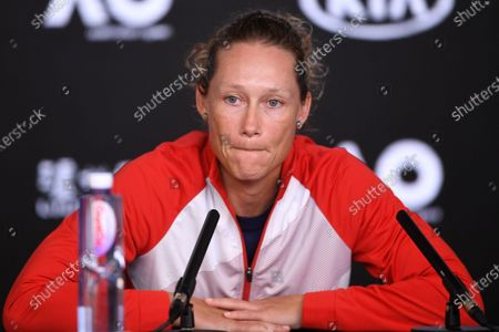Samantha Stosur of Australia speaks at a press conference after her first round match loss against Catherine McNally of the USA at the Australian Open Grand Slam tennis tournament in Melbourne, Australia, 20 January 2020.