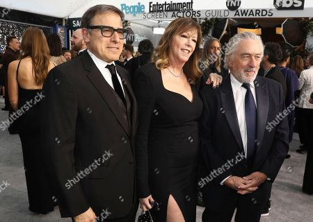 David O. Russell, Jane Rosenthal, Robert De Niro. David O. Russell, from left, Jane Rosenthal and Robert De Niro arrive at the 26th annual Screen Actors Guild Awards at the Shrine Auditorium & Expo Hall, in Los Angeles