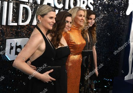 Jennifer Robertson, Sarah Levy, Catherine O'Hara, Annie Murphy. Jennifer Robertson, from left, Sarah Levy, Catherine O'Hara and Annie Murphy arrive at the 26th annual Screen Actors Guild Awards at the Shrine Auditorium & Expo Hall, in Los Angeles