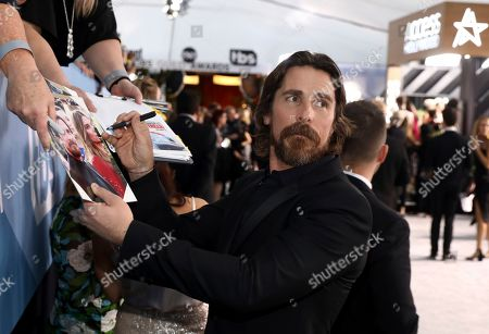 Christian Bale arrives at the 26th annual Screen Actors Guild Awards at the Shrine Auditorium & Expo Hall, in Los Angeles