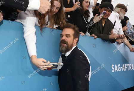 David Harbour arrives at the 26th annual Screen Actors Guild Awards at the Shrine Auditorium & Expo Hall, in Los Angeles