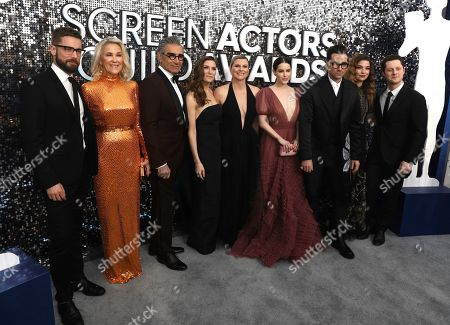 Dustin Milligan, Catherine O'Hara,Eugene Levy, Sarah Levy, Jennifer Robertson, Emily Hampshire, Dan Levy, Annie Murphy, Noah Reid. Dustin Milligan, from left, Catherine O'Hara, Eugene Levy, Sarah Levy, Jennifer Robertson, Emily Hampshire, Dan Levy, Annie Murphy and Noah Reid arrive at the 26th annual Screen Actors Guild Awards at the Shrine Auditorium & Expo Hall, in Los Angeles