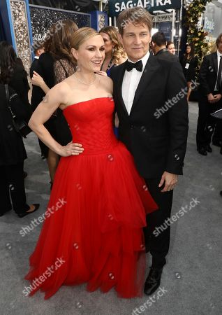 Anna Paquin, Stephen Moyer. Anna Paquin, lefty, and Stephen Moyer arrive at the 26th annual Screen Actors Guild Awards at the Shrine Auditorium & Expo Hall, in Los Angeles
