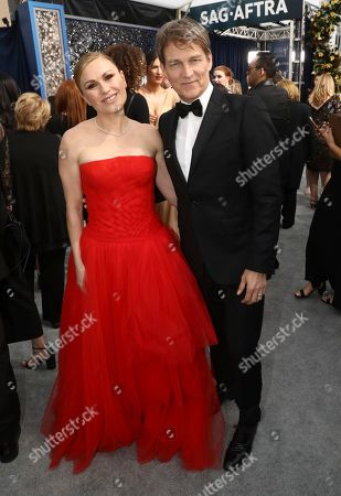 Stock Photo of Anna Paquin, Stephen Moyer. Anna Paquin, left, and Stephen Moyer arrive at the 26th annual Screen Actors Guild Awards at the Shrine Auditorium & Expo Hall, in Los Angeles