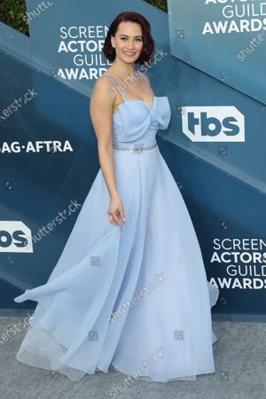 Kristen Gutoskie arrives for the 26th annual Screen Actors Guild Awards ceremony at the Shrine Auditorium in Los Angeles, California, USA, 19 January 2020.