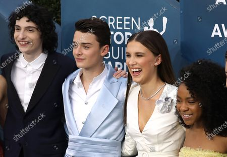 Finn Wolfhard, Noah Schnapp, Millie Bobby Brown, Priah Ferguson arrive for the 26th annual Screen Actors Guild Awards ceremony at the Shrine Auditorium in Los Angeles, California, USA, 19 January 2020.