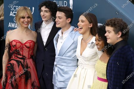 Cara Buono, Finn Wolfhard, Noah Schnapp, Millie Bobby Brown, Priah Ferguson, Gaten Matarazzo arrive for the 26th annual Screen Actors Guild Awards ceremony at the Shrine Auditorium in Los Angeles, California, USA, 19 January 2020.