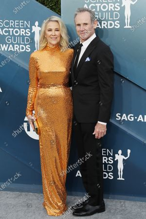 Catherine O'Hara and Bo Welch arrive for the 26th annual Screen Actors Guild Awards ceremony at the Shrine Auditorium in Los Angeles, California, USA, 19 January 2020.