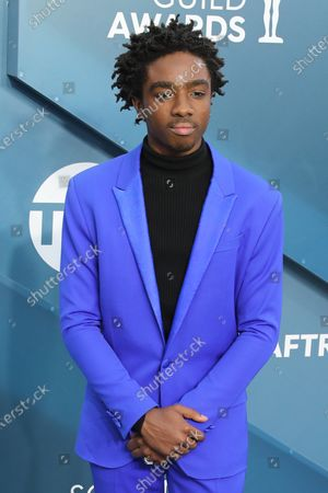 Stock Picture of Caleb McLaughlin arrives for the 26th annual Screen Actors Guild Awards ceremony at the Shrine Auditorium in Los Angeles, California, USA, 19 January 2020.