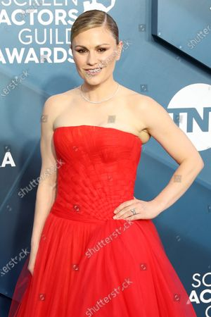 Anna Paquin arrives for the 26th annual Screen Actors Guild Awards ceremony at the Shrine Auditorium in Los Angeles, California, USA, 19 January 2020.