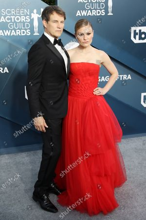 Stock Image of Anna Paquin and Stephen Moyer arrive for the 26th annual Screen Actors Guild Awards ceremony at the Shrine Auditorium in Los Angeles, California, USA, 19 January 2020.