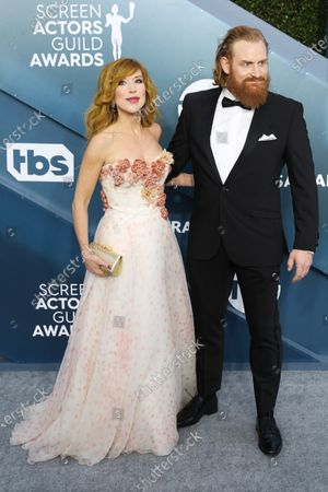 Kristofer Hivju (R) and Gry Molvaer Hivju arrive for the 26th annual Screen Actors Guild Awards ceremony at the Shrine Auditorium in Los Angeles, California, USA, 19 January 2020.