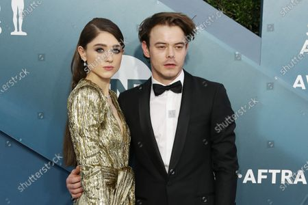 Natalia Dyer and Charlie Heaton arrive  for the 26th annual Screen Actors Guild Awards ceremony at the Shrine Auditorium in Los Angeles, California, USA, 19 January 2020.