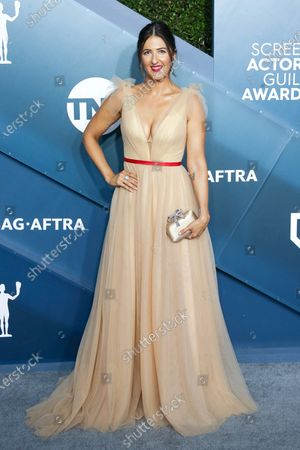 D'Arcy Carden arrives for the 26th annual Screen Actors Guild Awards ceremony at the Shrine Auditorium in Los Angeles, California, USA, 19 January 2020.