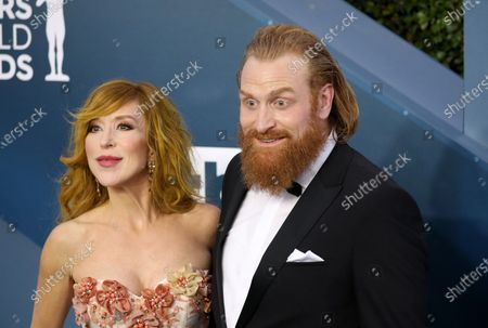 Stock Picture of Kristofer Hivju (R) and Gry Molvaer Hivju arrive for the 26th annual Screen Actors Guild Awards ceremony at the Shrine Auditorium in Los Angeles, California, USA, 19 January 2020.