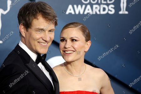 Anna Paquin and Stephen Moyer arrive for the 26th annual Screen Actors Guild Awards ceremony at the Shrine Auditorium in Los Angeles, California, USA, 19 January 2020.