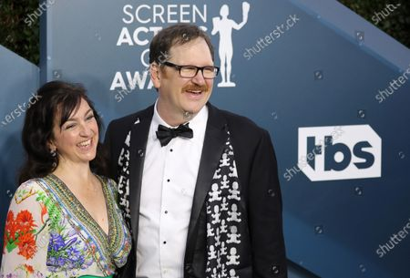 Julie Millett (L) and John Pirruccello arrive for the 26th annual Screen Actors Guild Awards ceremony at the Shrine Auditorium in Los Angeles, California, USA, 19 January 2020.