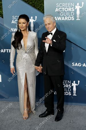 Michael Douglas and Catherine Zeta-Jones (L) arrive for the 26th annual Screen Actors Guild Awards ceremony at the Shrine Auditorium in Los Angeles, California, USA, 19 January 2020.