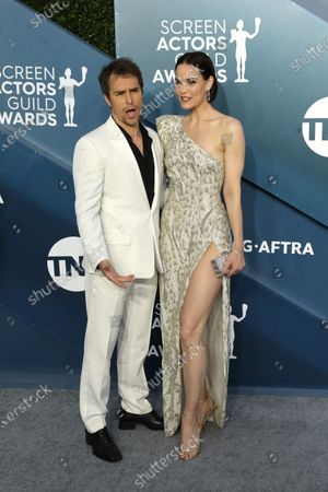 Sam Rockwell and Leslie Bibb arrive for the 26th annual Screen Actors Guild Awards ceremony at the Shrine Auditorium in Los Angeles, California, USA, 19 January 2020.