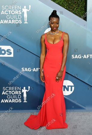 Stock Photo of Danai Gurira arrives for the 26th annual Screen Actors Guild Awards ceremony at the Shrine Auditorium in Los Angeles, California, USA, 19 January 2020.