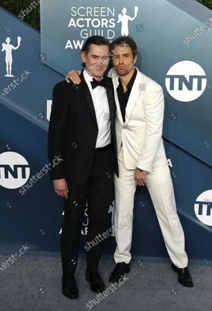 Billy Crudup (L) and Sam Rockwell arrive for the 26th annual Screen Actors Guild Awards ceremony at the Shrine Auditorium in Los Angeles, California, USA, 19 January 2020.