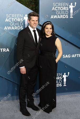 Ryan Piers Williams (L) and America Ferrera arrive for the 26th annual Screen Actors Guild Awards ceremony at the Shrine Auditorium in Los Angeles, California, USA, 19 January 2020.