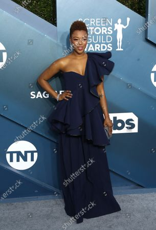 Samira Wiley arrives for the 26th annual Screen Actors Guild Awards ceremony at the Shrine Auditorium in Los Angeles, California, USA, 19 January 2020.