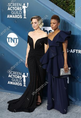 Samira Wiley (R) and wife Lauren Morelli arrive for the 26th annual Screen Actors Guild Awards ceremony at the Shrine Auditorium in Los Angeles, California, USA, 19 January 2020.