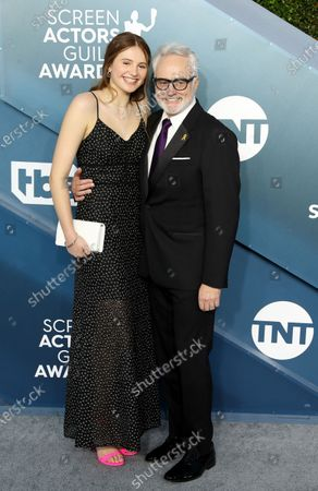 Stock Photo of Bradley Whitford (R) and Mary Louisa Whitford arrive for the 26th annual Screen Actors Guild Awards ceremony at the Shrine Auditorium in Los Angeles, California, USA, 19 January 2020.
