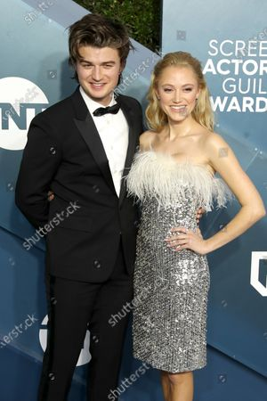 Joe Keery and Maika Monroe arrive for the 26th annual Screen Actors Guild Awards ceremony at the Shrine Auditorium in Los Angeles, California, USA, 19 January 2020.