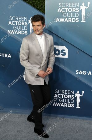 Pedro Pascal arrives for the 26th annual Screen Actors Guild Awards ceremony at the Shrine Auditorium in Los Angeles, California, USA, 19 January 2020.