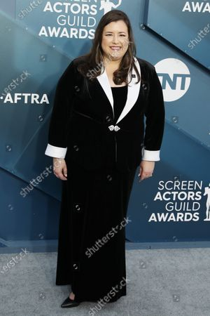 Rebecca Damon arrives for the 26th annual Screen Actors Guild Awards ceremony at the Shrine Auditorium in Los Angeles, California, USA, 19 January 2020.