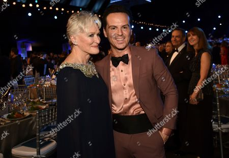 Stock Photo of Glenn Close, Andrew Scott. Glenn Close, left, and Andrew Scott attend the 26th annual Screen Actors Guild Awards at the Shrine Auditorium & Expo Hall, in Los Angeles