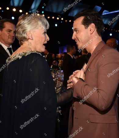 Glenn Close, Andrew Scott. Glenn Close, left, and Andrew Scott attend the 26th annual Screen Actors Guild Awards at the Shrine Auditorium & Expo Hall, in Los Angeles