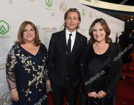 Stock Picture of Gail Berman, Brad Pitt, Lucy Fisher. PGA President Gail Berman, from left, Brad Pitt, and PGA President Lucy Fisher arrive at the 31st Annual Producers Guild Awards at the Hollywood Palladium, in Los Angeles