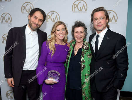 Jeremy Kleiner, Dede Garner, Frances Mcdormand, Brad Pitt. Jeremy Kleiner, Dede Garner and Brad Pitt, David O. Selznick award honorees, pose with Frances Mcdormand, second from right, at the 31st Annual Producers Guild Awards at the Hollywood Palladium, in Los Angeles