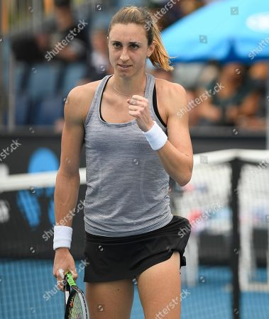 Croatia's Petra Martic reacts after defeating United States' Christina McHale in their first round singles match the Australian Open tennis championship in Melbourne, Australia