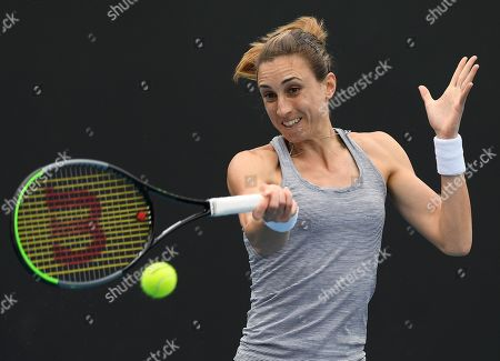Croatia's Petra Martic hits a forehand return to United States' Christina McHale during their first round singles match the Australian Open tennis championship in Melbourne, Australia