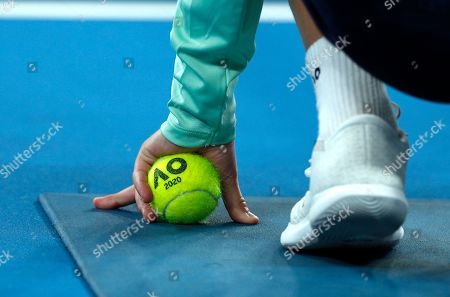 A ball boy waits at the net during the first round singles match between Australia's Samantha Stosur and Catherine McNally of the United States at the Australian Open tennis championship in Melbourne, Australia