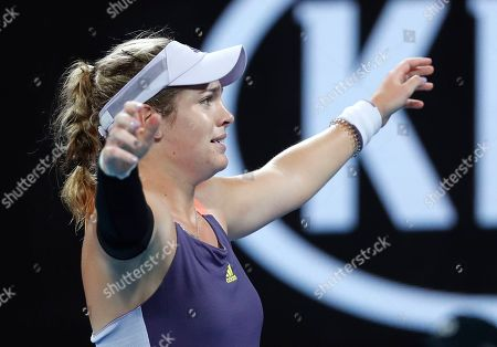 Stock Photo of Catherine McNally of the United States reacts after defeating Australia's Samantha Stosur in their first round singles match at the Australian Open tennis championship in Melbourne, Australia