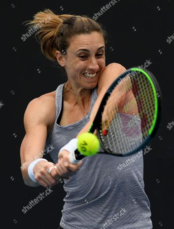Croatia's Petra Martic makes a backhand return to United States' Christina McHale during their first round singles match the Australian Open tennis championship in Melbourne, Australia